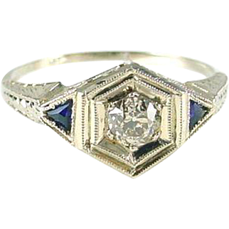 Art Deco Diamond Sapphire 18k White Gold Ring