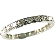 Platinum 1.00 Carat Diamond Eternity Band Guard Ring--Ring size 8