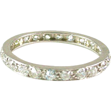 Platinum 1.00 Carat Diamond Eternity Band Guard Ring