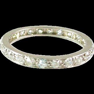Platinum 1.00 Carat Diamond Eternity Band Guard Ring