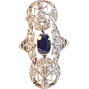 Antique Edwardian Platinum Topped Sapphire Diamond Dinner Ring