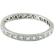 Art Deco Platinum .65 ct. Diamond Eternity Band Guard Ring -1922