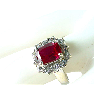 Vintage Synthetic Ruby Diamond 18k Gold Ring