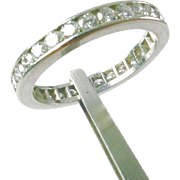 Platinum 1.40 Carat Diamond Eternity Band Guard Ring