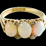 Antique English Opal Diamond Dress Ring--Full Hallmarks
