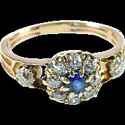 Edwardian Mine Cut Diamond Sapphire Princess Halo 18k Gold Ring