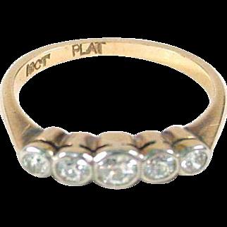 Antique Edwardian English Platinum Old European Cut 18k Gold Diamond Ring