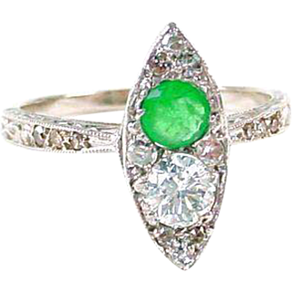 Art Deco Emerald Diamond Navette 14k Gold Ring