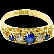 Asprey of London 18ct Yellow Gold Edwardian Sapphire Diamond English Dress Ring