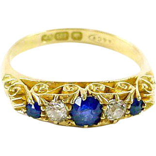 Asprey of London 18ct Yellow Gold Edwardian Sapphire Diamond English Dress Ring