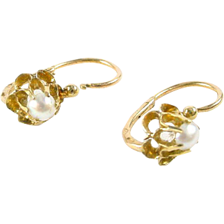 French Pearl 18k gold Dormeuse Earrings