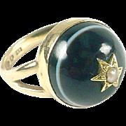 Stunning Antique Banded Agate Bullseye 14k Gold Ring