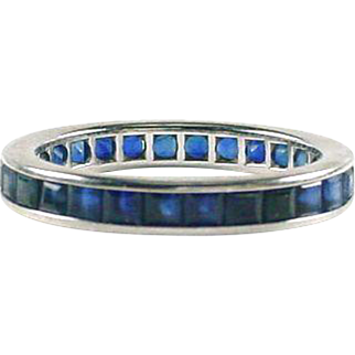 French Cut Sapphire Eternity Band --Size 7-1/2