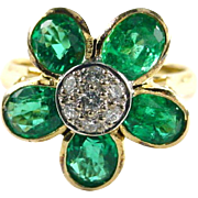 VS Emerald Diamond 14k Yellow Gold Flower Ring--Appraisal