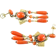 Stunning Antique Victorian Coral Gold Chandelier Earrings
