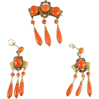 Antique Coral Earrings and Brooch Gold Demi-Parure