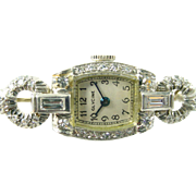 Art Deco Diamond Platinum 14k White Gold Lapel Watch Brooch