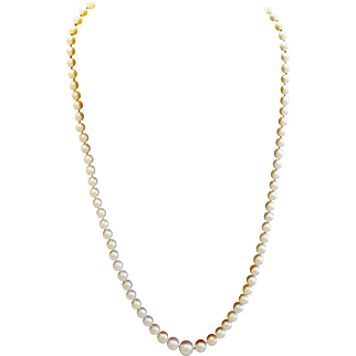 """w/$2100 APPRAISAL: Vintage 30s 20"""" strand Cultured AKOYA Pearls with 10kt White Gold clasp - 1930s"""