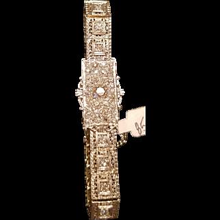 w/ $8500 Appraisal : Vintage ART DECO 20s 14kt White Gold/3.27 KT DIAMOND Bracelet- 1920s