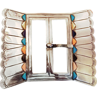 Vintage 60s STERLING Silver INLAID w/Turquoise, Coral, Onyx Belt Buckle- 1960s NAVAJO