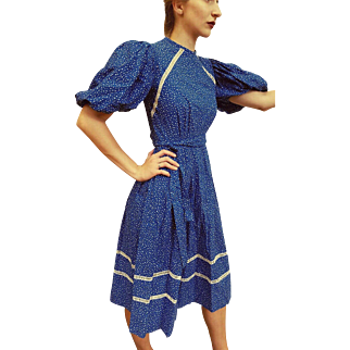 RARE UNUSUAL Sleeves: ❤ Vintage 70s VICTOR COSTA Blue Dot Calico Peasant Dress - 1970s