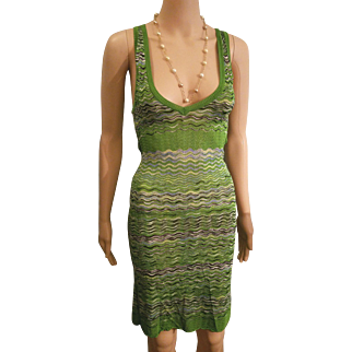 ULTIMATE Vintage MISSONI: 90s M Missoni Rare Green Zig-Zag Knit BodyCon Dress - 1990s