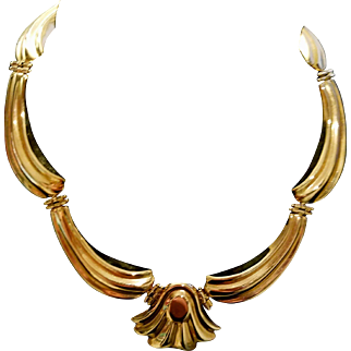 ❤SALE PRICE❤ w/ $6750 APPRAISAL: Vintage 14 KT Yellow Gold Choker Scalloped Necklace - 61.5g