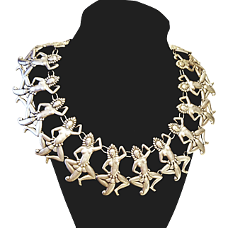 "❤SALE PRICE!❤ w/ $4500 Appraisal : Vintage 1940s Los Castillo Taxco Mexico ""Native Dancers"" Sterling Silver Necklace - 40s"
