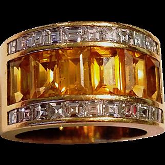 w/ $7500 APPRAISAL: Vintage Ladies Custom-made DIAMOND & YELLOW SAPPHIRE Band Ring - 18 kt Yellow Gold