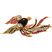 WOW!!  w/$8000 APPRAISAL: Vintage 18 kt Yellow/White Gold with Onyx, Diamond, Ruby, Emerald, Sapphire BIRD Figural Brooch Pin