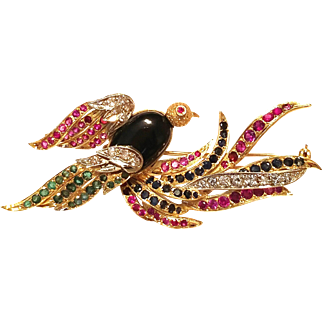 ❤SALE PRICE❤  w/$8000 APPRAISAL: Vintage 18 kt Yellow/White Gold with Onyx, Diamond, Ruby, Emerald, Sapphire BIRD Figural Brooch Pin