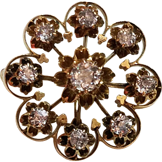 w/ $3250 APPRAISAL: Vintage Victorian era 1800s DIAMOND  and 14 kt Gold Brooch/Scatter Pin