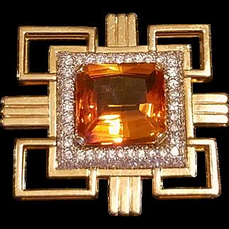 ❤Sale Price ❤ w/ $7700 APPRAISAL: Vintage CITRINE & DIAMOND Retro style 14 KT Gold Brooch/Pin