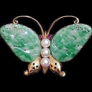 w/ $1500 APPRAISAL: Vintage 14 kt Gold JADE/ Pearl/Ruby Brooch Pin