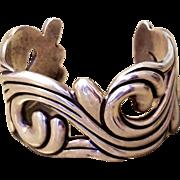 w/ $900 APPRAISAL: Vintage 50s LOS CASTILLO Taxco Mexico Sterling Silver swirl cuff Bracelet- 1950s