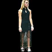 Vintage 90s LBD Little Black Fringe Cocktail Dress - 1990s Spandex BodyCon