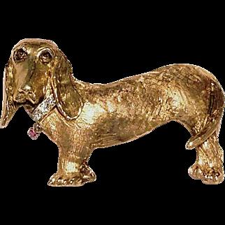 ❤Rare!❤ Vintage 14kt Gold/DIAMOND & RUBY COLLAR Basset Hound Dachsund Dog Brooch Pin