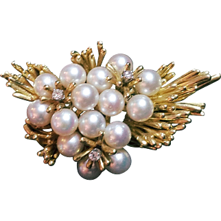 $4000 APPRAISAL: Vintage 18kt Gold Cultured PEARL/DIAMONDS Cluster Brooch Pin - 28.8g