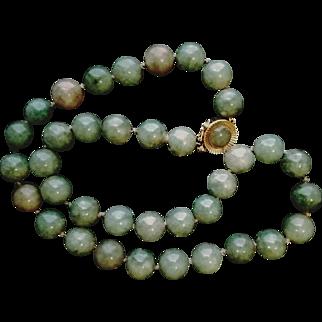 "❤ESTATE PIECE ❤ Vintage 14kt Gold Cabachon Closure & Jadeite JADE 8mm Bead choker Necklace -- 16"""