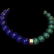 "151.2g!   Vintage 14/18KT GOLD Lapis/MALACHITE 15mm Bead choker Necklace -- 16"" ❤RARE ESTATE Piece ❤"
