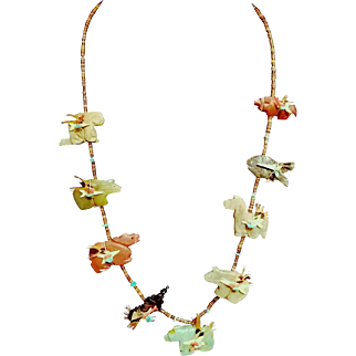 "WOW❤28"" Vintage ZUNI NAVAJO Carved Turquoise-Quartz-Stone Fetish Necklace - animals, fish, FEATHERS!"
