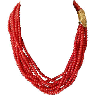 """95.3g ❤ESTATE Vintage 18KT GOLD CABACHON Clasp and 9-Strand CORAL Seed Bead Necklace 16"""""""