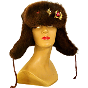 Vintage 60s Sable-colored MINK FUR Mens Genuine RUSSIAN CCCP Cossack Ushanka Hat- 1960s w/Medals