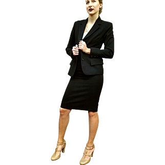 THE Vintage 90s YSL POWER SUIT You Need!! YEAR-ROUND Yves Saint Laurent Black Wool Skirt Suit - 1990s