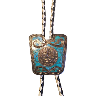 ❤ Vintage 40s Mayan MEXICO BOLO Tie❤  Turquoise & Sterling Silver Leather Rope - 1940s HALLMARKED
