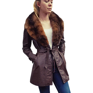 Vintage 70s Spy Girl Mod sheared WILD RABBIT FUR and Leather Jacket Coat - 1970s