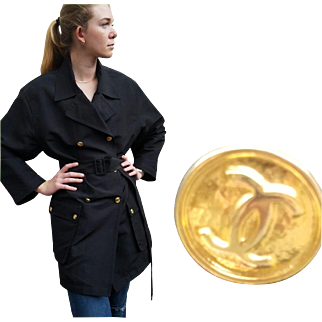 Vintage 80s CHANEL BOUTIQUE Rare 100% Silk rain/trench Coat Jacket - 1980s