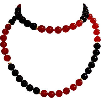 """STUNNING 31""""❤ Vintage CARNELIAN & ONYX 14kt Gold bead Cocktail Necklace - 103.6g"""