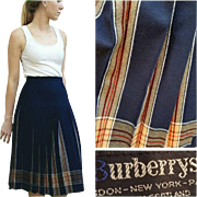 FASHION HISTORY ❤  Vintage 70s BURBERRY Wool/Nova Check Collegiate Pleated Skirt - 1970s
