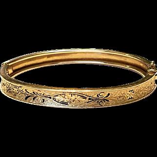 """Priced UNDER SCRAP GOLD Value!!!  14kt Vintage 1960s Fancy Etched 8.5"""" Bangle Bracelet ❤15.5g Gold❤"""